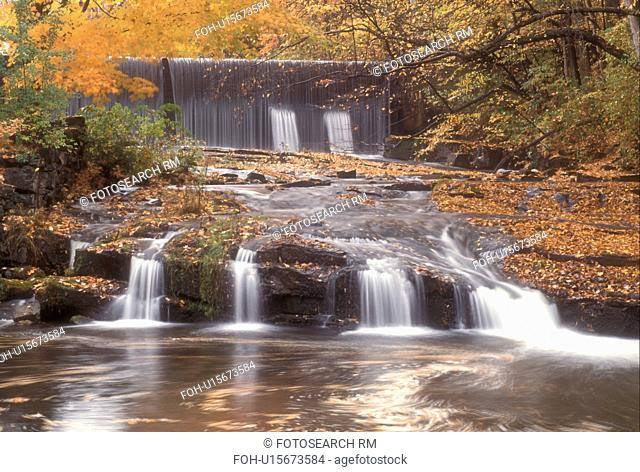 waterfall, fall, North Bennington, VT, Vermont, A small waterfall and larger waterfall in the background flow down Paran Creek in North Bennington in autumn