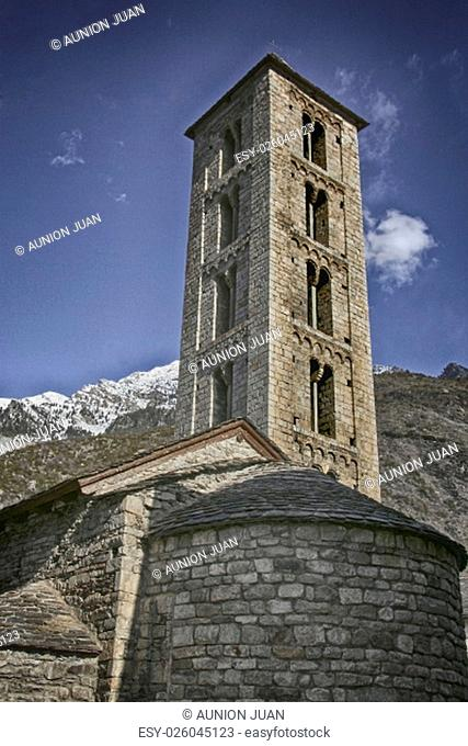 Tower and apse of the church of Santa Eulalia de Erill-la-Vall, in the Boi Valley, Lleida province, Catalonia, Spain