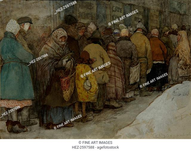 The Queue, ca 1921. Found in the collection of the State Tretyakov Gallery, Moscow