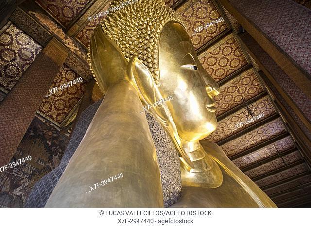 Golden big Buddha, in Wat Pho or Wat Phra Nakhon temple in Bangkok, Thailand