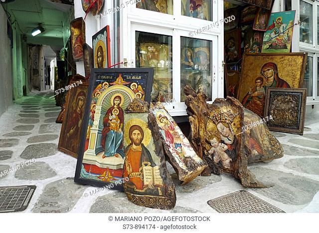 Copies of icons for sale, Mykonos, Greek Islands, Greek, Europe