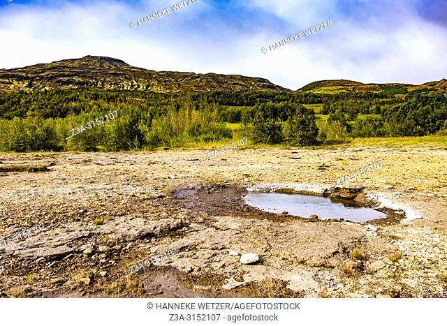 Little hot spring in the geothermal area of Haukadalur Valley, Southwest Iceland