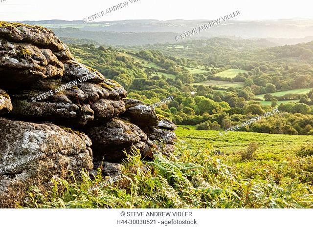 England, Devon, Dartmoor, Hound Tor, View of Dartmoor from Hound Tor