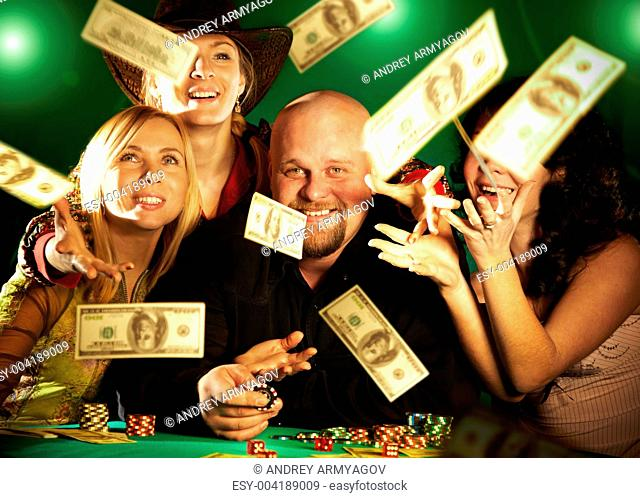 cheerful company of friends. prize of money