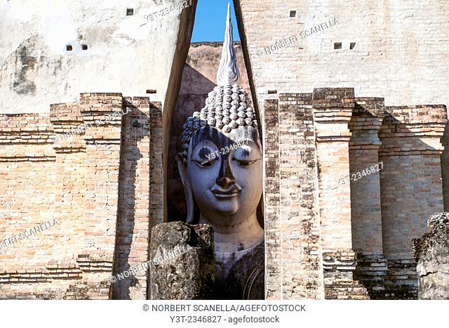 Asia. Thailand, old capital of Siam. Sukhothai archaeological Park, classified UNESCO World Heritage. Wat Si Chum. Head of Buddha statue