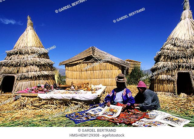 Peru, descendants of Uros Indians live on floating islands made with reed of Lake Titicaca and live thanks to tourism