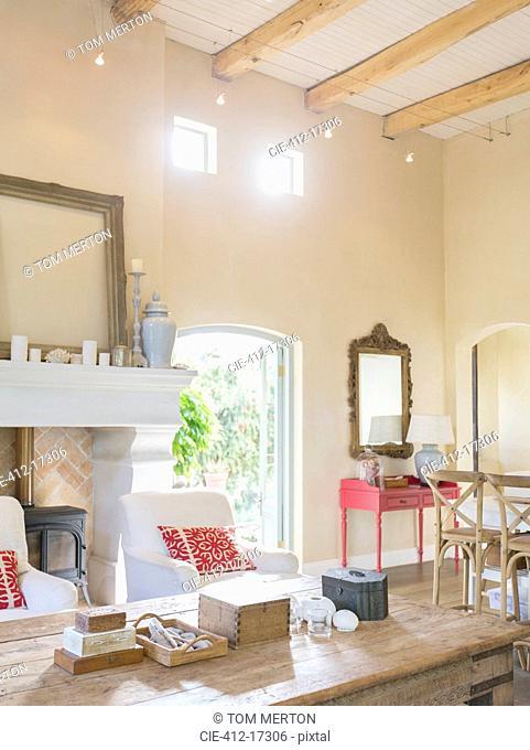 Sun shining through windows in luxury living room