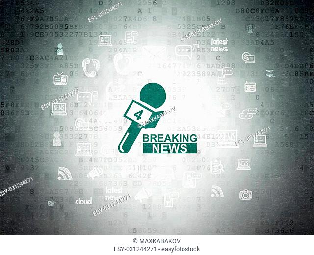 News concept: Painted green Breaking News And Microphone icon on Digital Paper background with Hand Drawn News Icons