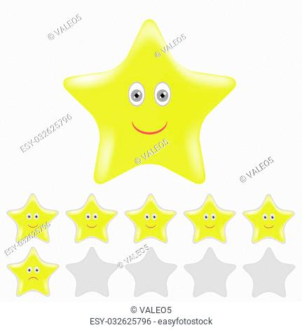 Gold Smailing Stars Isolated on White Background