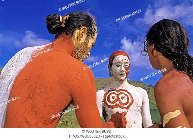 South America,Chile, Easter Island, Rapa Nui Festival, body painting