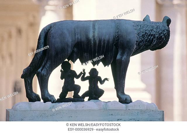 She-wolf suckling Romulus and Remus. Rome. Italy