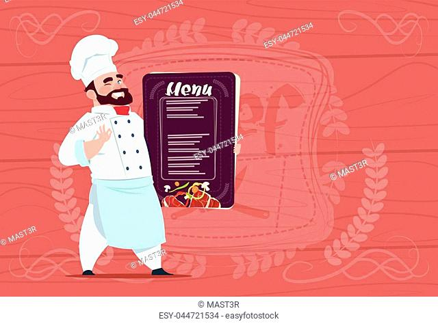 Chef Cook Holding Restaurant Menu Smiling Cartoon Chief In White Uniform Over Wooden Textured Background Flat Vector Illustration