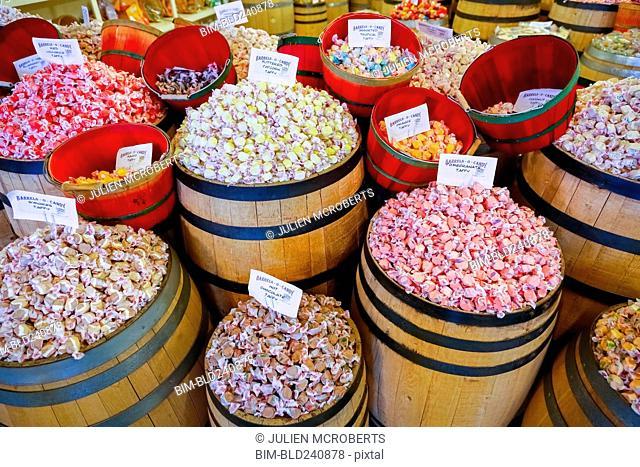 Barrels of taffy in store