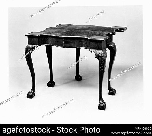 Card and backgammon table. Date: 1760-90; Geography: Made in New York, New York, United States; Culture: American; Medium: Mahogany, mahogany veneer