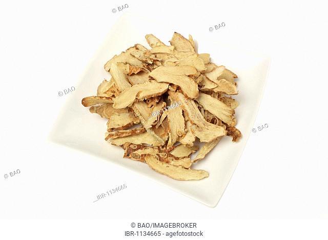 Medicinal plant Common Anemarrhena (Anemarrhena asphodeloides), Zhi Mu, dried roots