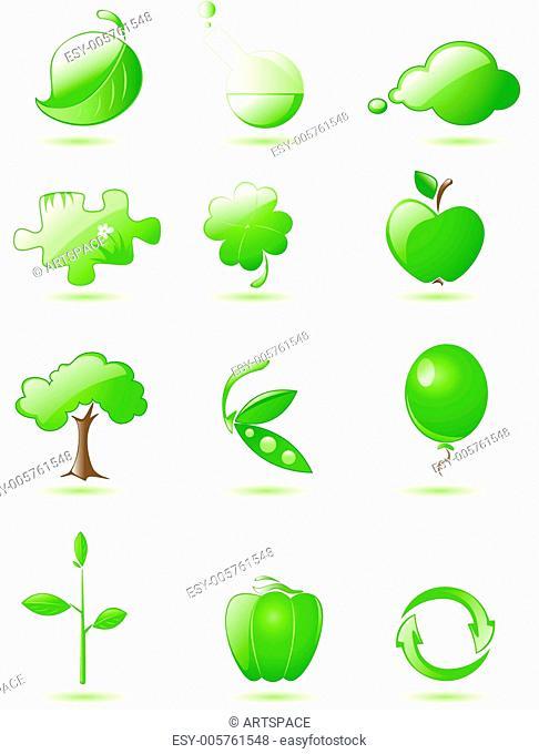 Green glossy icon set