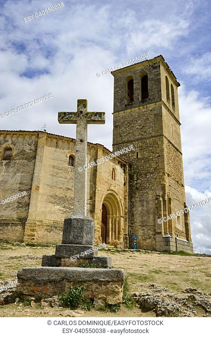 Vera Cruz church in Segovia Spain with a Christian cross in front