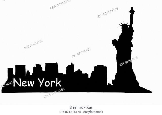 New York City, Manhattan mit Freiheitsstatue