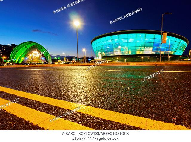 UK, Scotland, Lowlands, Glasgow, Twilight view of The Clyde Auditorium and the Hydro