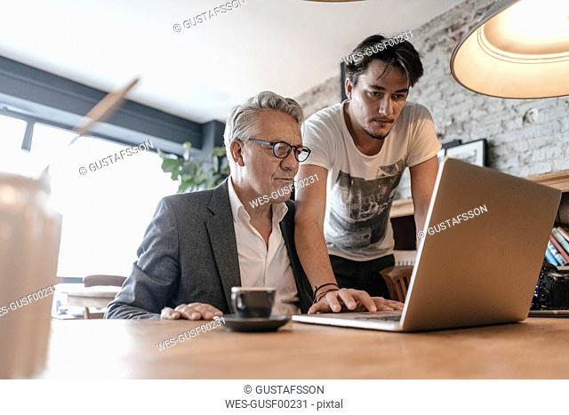 Father and son working together in cafe, using laptop