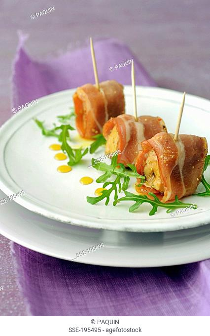 Foie gras and grilled bacon bites