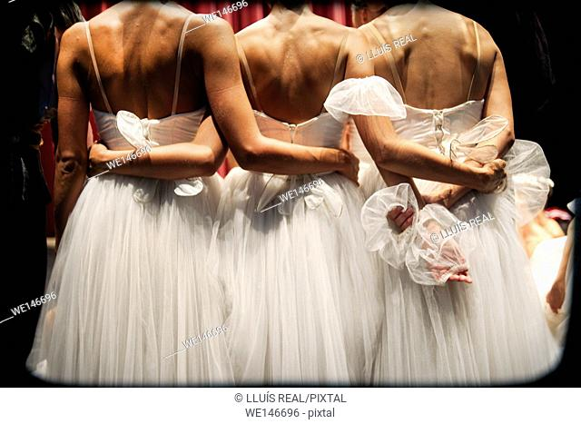 rear view of three unrecognizable classical ballet dancers embraced on a stage in a theater
