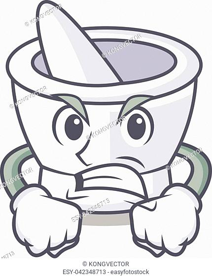 Angry mortar mascot cartoon style vector illustration