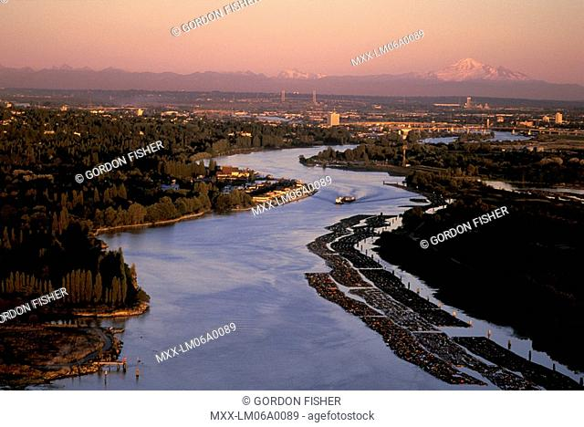 Sunset aerial of North Arm Fraser River, New Westminster, British Columbia, Canada