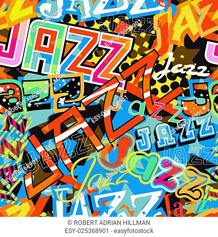 Vector seamless tile of the word Jazz in different colorful typefaces