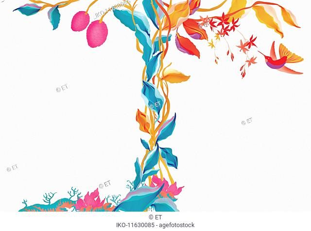Border pattern of tangled vine and hummingbird