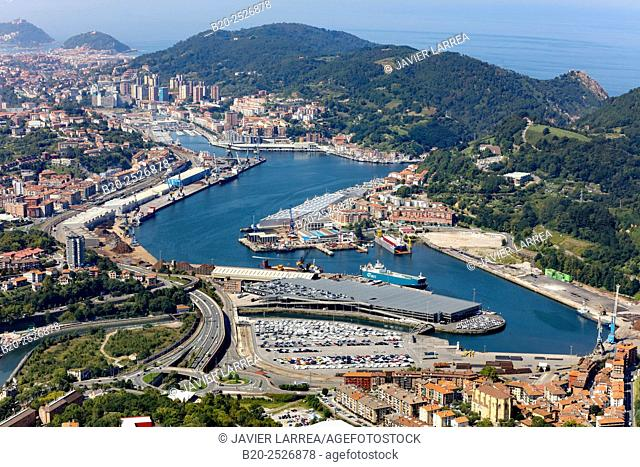 Aerial view, Export cars, Port of Pasajes, Gipuzkoa, Basque Country, Spain