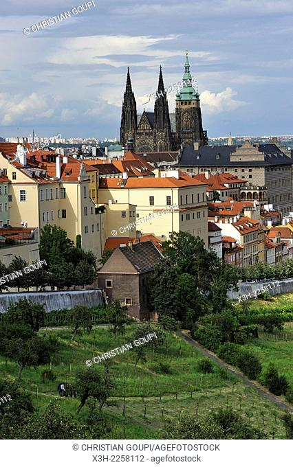 overview of Hradcany and Mala Strana districts from the garden of Strahov Monastery, Prague, Czech Republic, Europe