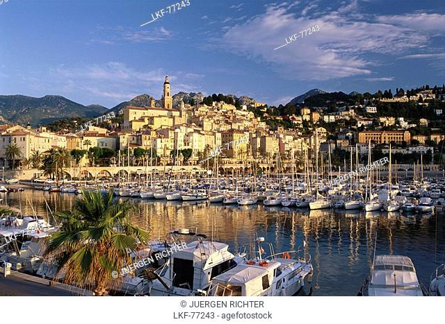 Menton harbour and old town, Cote D'Azur, Provence, France