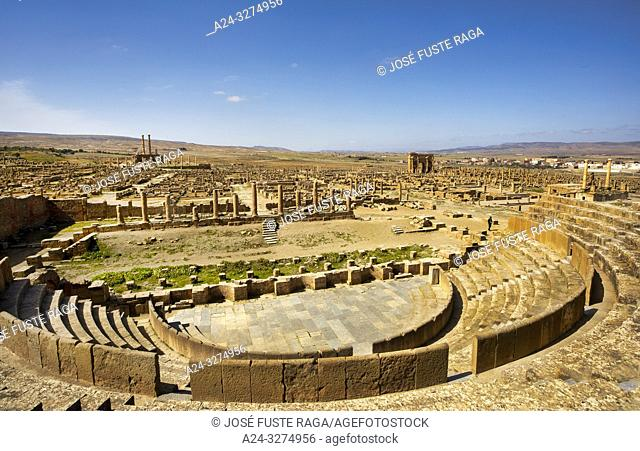 Algeria, Timgad City, Roman ruins of Timgad, UNESCO, (W. H. ) Panorama , Roman Theater