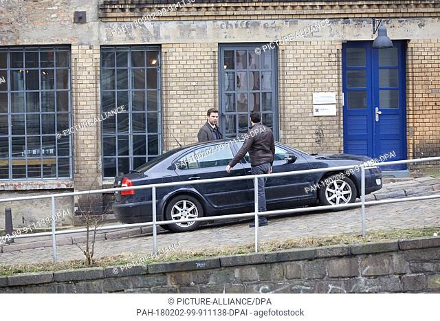 "The Lebanese-Swedish actor Fares Fares (R) and the Danish actor Nikolaj Lie Kaas pass a car during the filming of """"Verachtung"""" (""""Contempt"""") is taking place..."