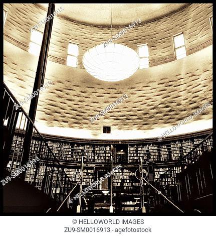 Stockholm Public Library lending room and circular book galleries by Gunnar Asplund (1928), Sweden, Scandinavia