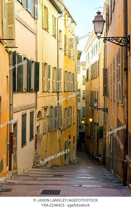 Alleyway with stairs between colorful buildings, Vieille Ville (Old Town), Nice, Alpes-Maritimes, Provence-Alpes-Côte d'Azur, France