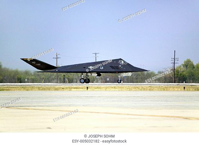 F-117A Nighthawk Stealth Jet Fighter flying over the 42nd Naval Base Ventura County NBVC Air Show at Point Mugu, Ventura County, Southern California