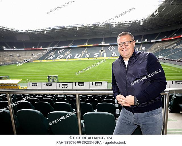 02 October 2018, North Rhine-Westphalia, Moenchengladbach: Max Eberl, Sports Director at Borussia Mönchengladbach, stands in Borussia Park