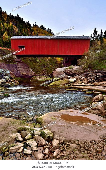 A vertical view of the Point Wolfe covered bridge in Fundy National Park near Alma, New Brunswick, Canada as seen from down on the Point Wolfe river at low tide...