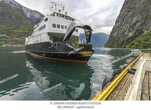ferry leaves Undredal, Aurlandsfjorden, Norway, municipality of Aurland, Sognefjorden