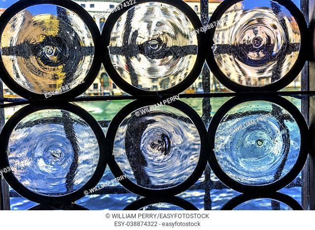 Venetian Glass Window Colorful Grand Canal Venice Italy. Venetian Merchant's Window