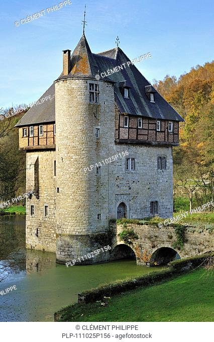 13th Century keep of Castle Carondelet at Crupet in the Ardennes, Belgium