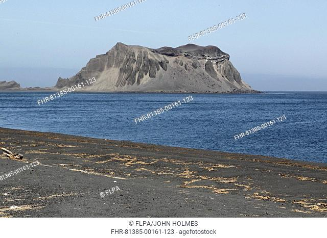 View of volcanic sands on beach, Atlasova Island, Kuril Islands, Sea of Okhotsk, Sakhalin Oblast, Russian Far East, Russia, june