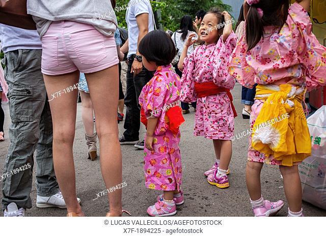 girls in kimono during Sanja Matsuri, Sensoji Temple, Asakusa Jinja, Asakusa, Tokyo, Japan, Asia