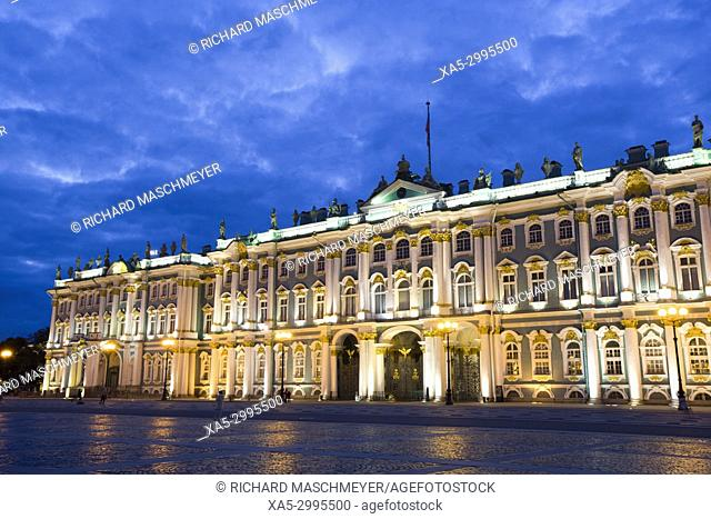 State Hermitage Museum, Evening, St Petersburg, UNESCO World Heritage Site, Russia