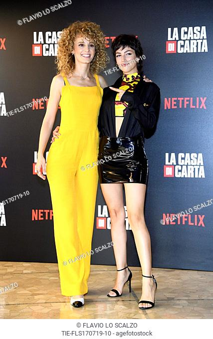Esther Acebo, Ursula Corbero during photocall for the presentation of Spanish TV show 'La Casa de Papel' in Milan, Italy, 17 July 2019