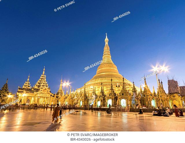 Shwedagon Pagoda at night, Yangon, Rangoon, Myanmar