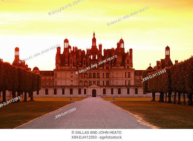 France, Loire Valley, Loir-et-Cher, Chambord, Château de Chambord, South Façade at Sunset