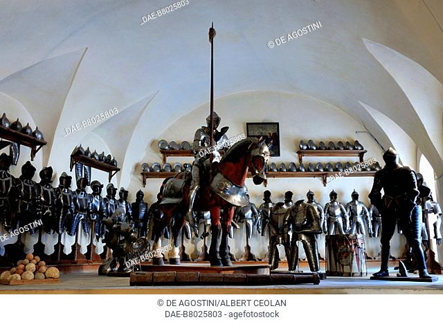 The Armory of Churburg Castle, the largest private armory in the world, 1260, Schluderns, Bolzano, Trentino-Alto Adige, Italy